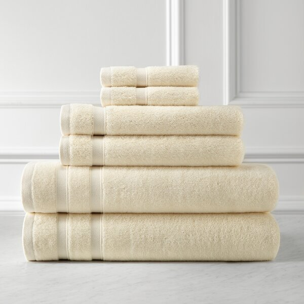 Premium Quality 6 Piece 100% Combed Cotton Towel Set by SouthShore Fine Linens